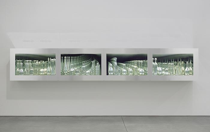 Josiah McIlheny, Twentieth Century Modernism, Mirrored and Reflected Infinitely, 2006, Hand blown mirrored glass, display structure, transparent mirror and electric lighting 31 1/4 x 188 x 18 3/4 inches. Still life